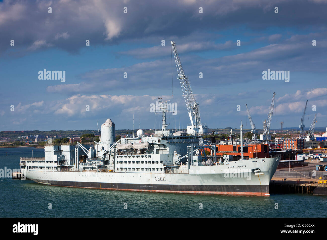 RFA Fort Austin A386 moored in Portsmouth Harbour England UK - Stock Image