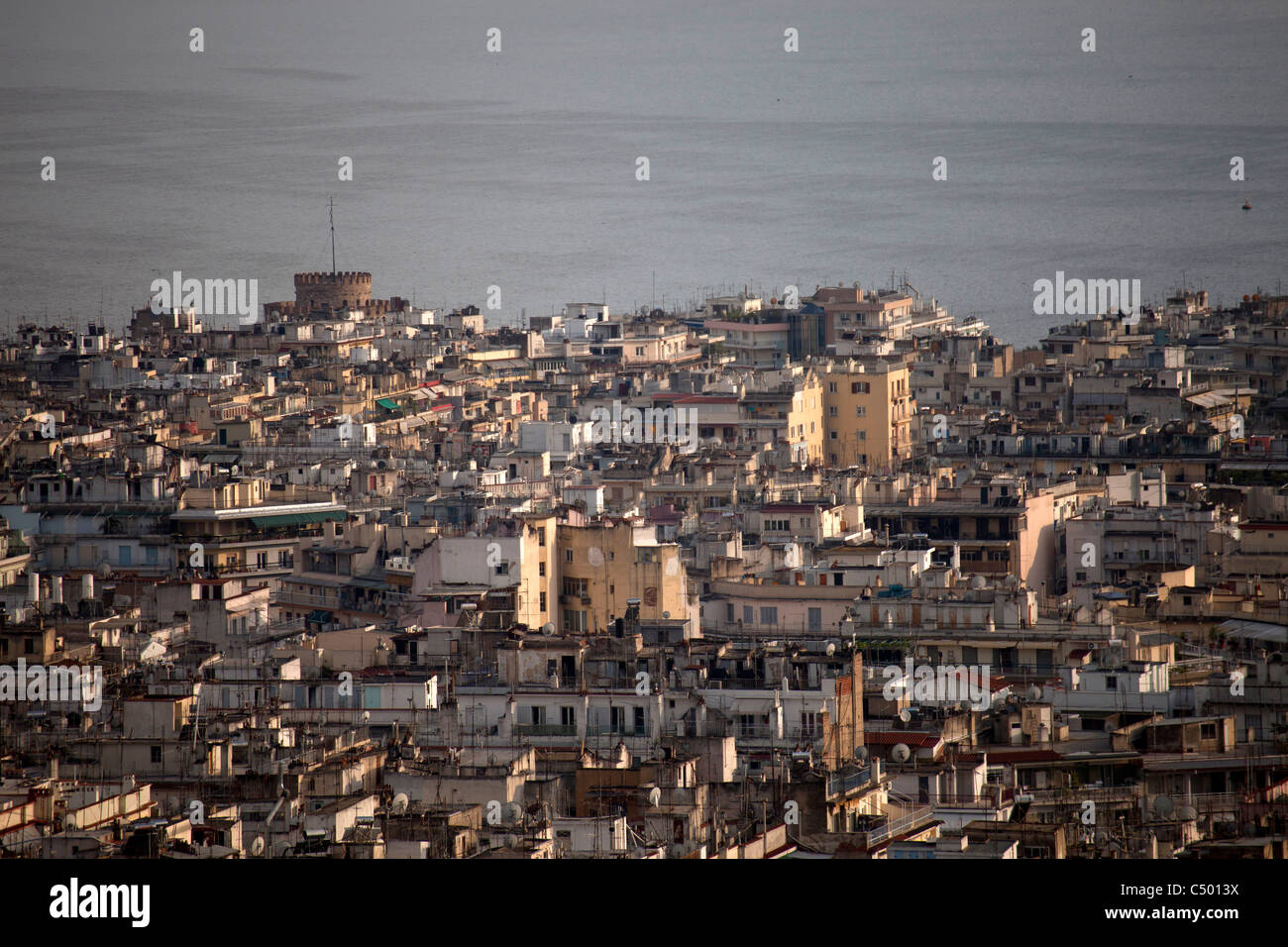 Thessaloniki, the white tower and the sea seen from above, Macedonia, Greece Stock Photo