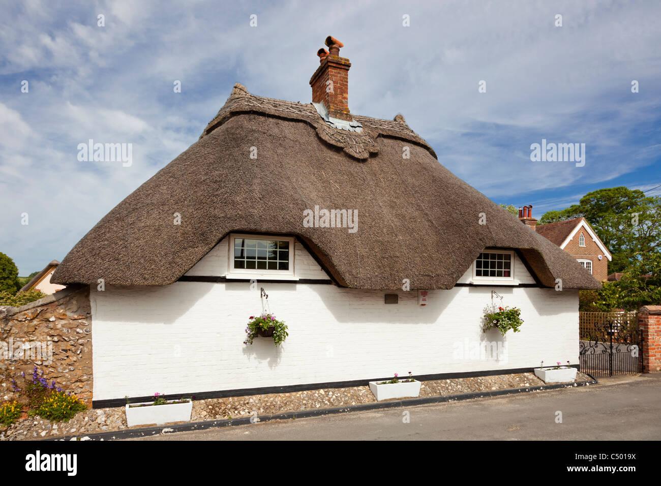 Thatched cottage bungalow, Tarrant Monkton, Dorset, England, UK - Stock Image