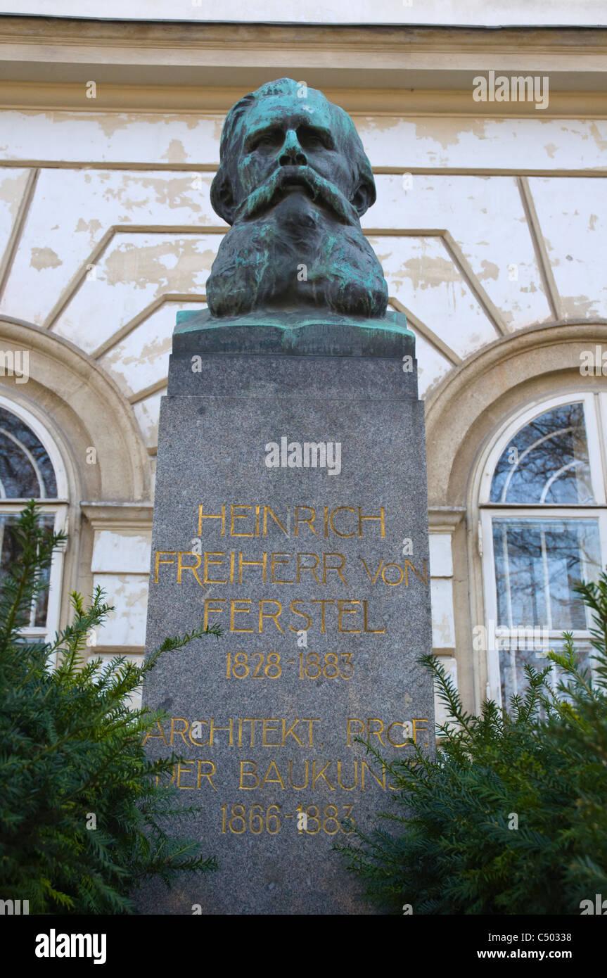 Heinrich Freiherren Ferstel statue Resselpark park at Karlsplatz central Vienna Austria central Europe - Stock Image