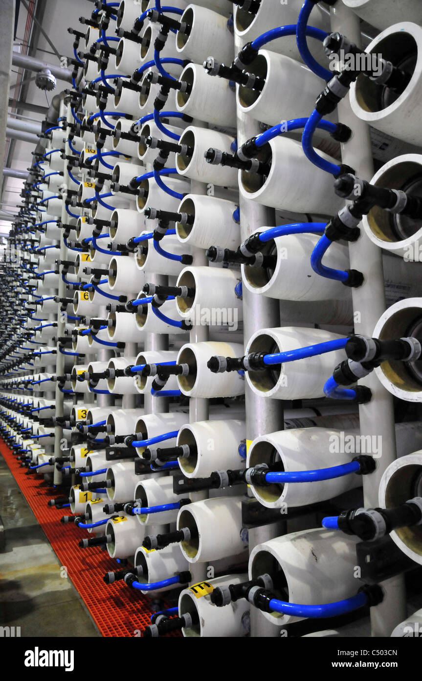 Desalination plant. A bank of Reverse Osmosis membrane filters. Stock Photo