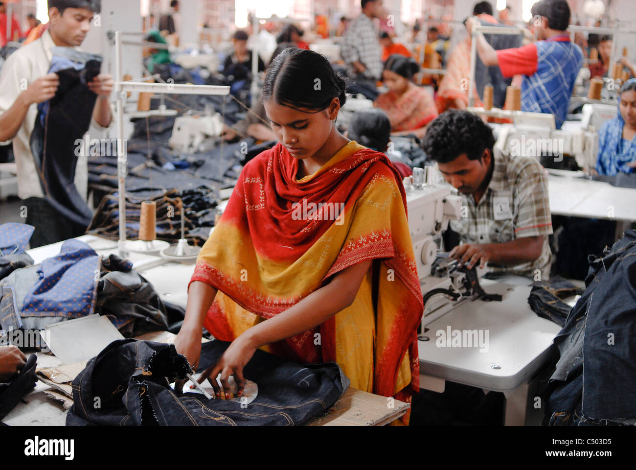 BANGLADESH , Dhaka, apparel industry, Beximco textile factory produce Jeans for export for western discounter, department - Stock Image