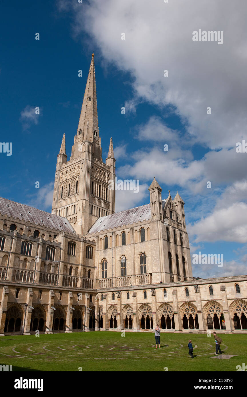 Spire and south transept of the beautiful Norwich Cathedral, East Anglia, England. Stock Photo
