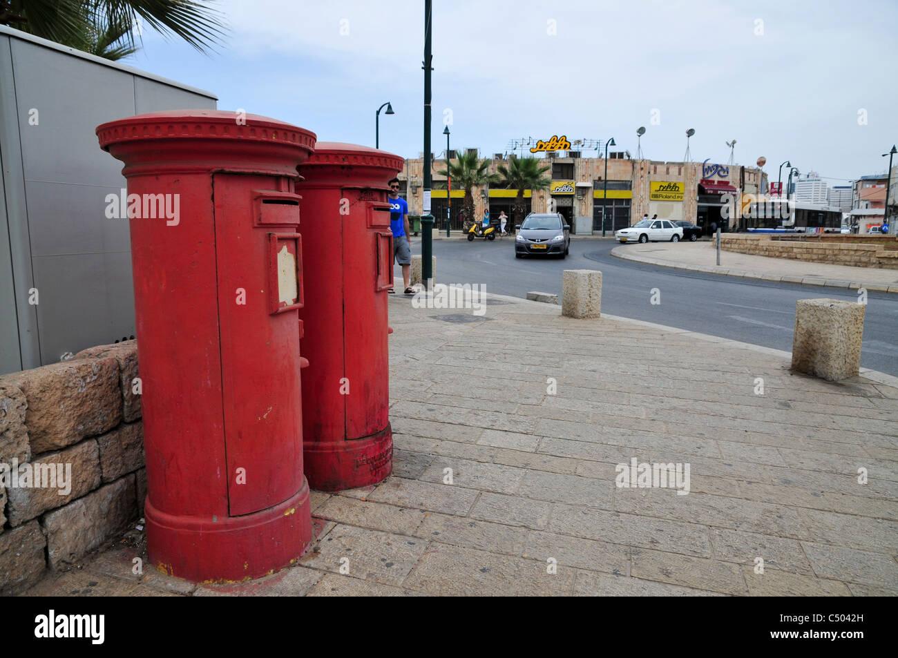 Israel, Jaffa, Israeli Postal service postbox - Stock Image