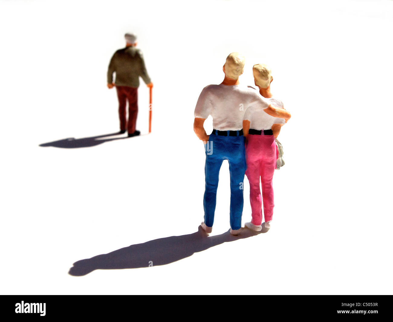 Figurines, symbolic separation. - Stock Image