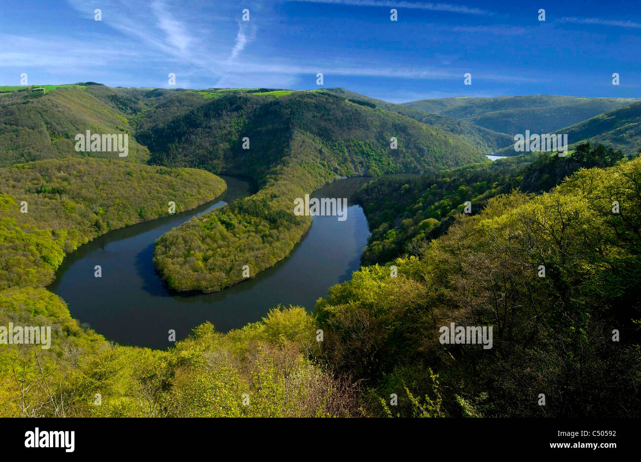 Meander of Queuille, Auvergne, France. - Stock Image