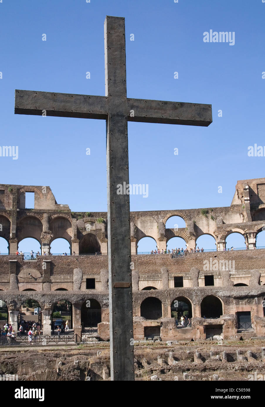 cross in the ancient colosseum Rome italy - Stock Image