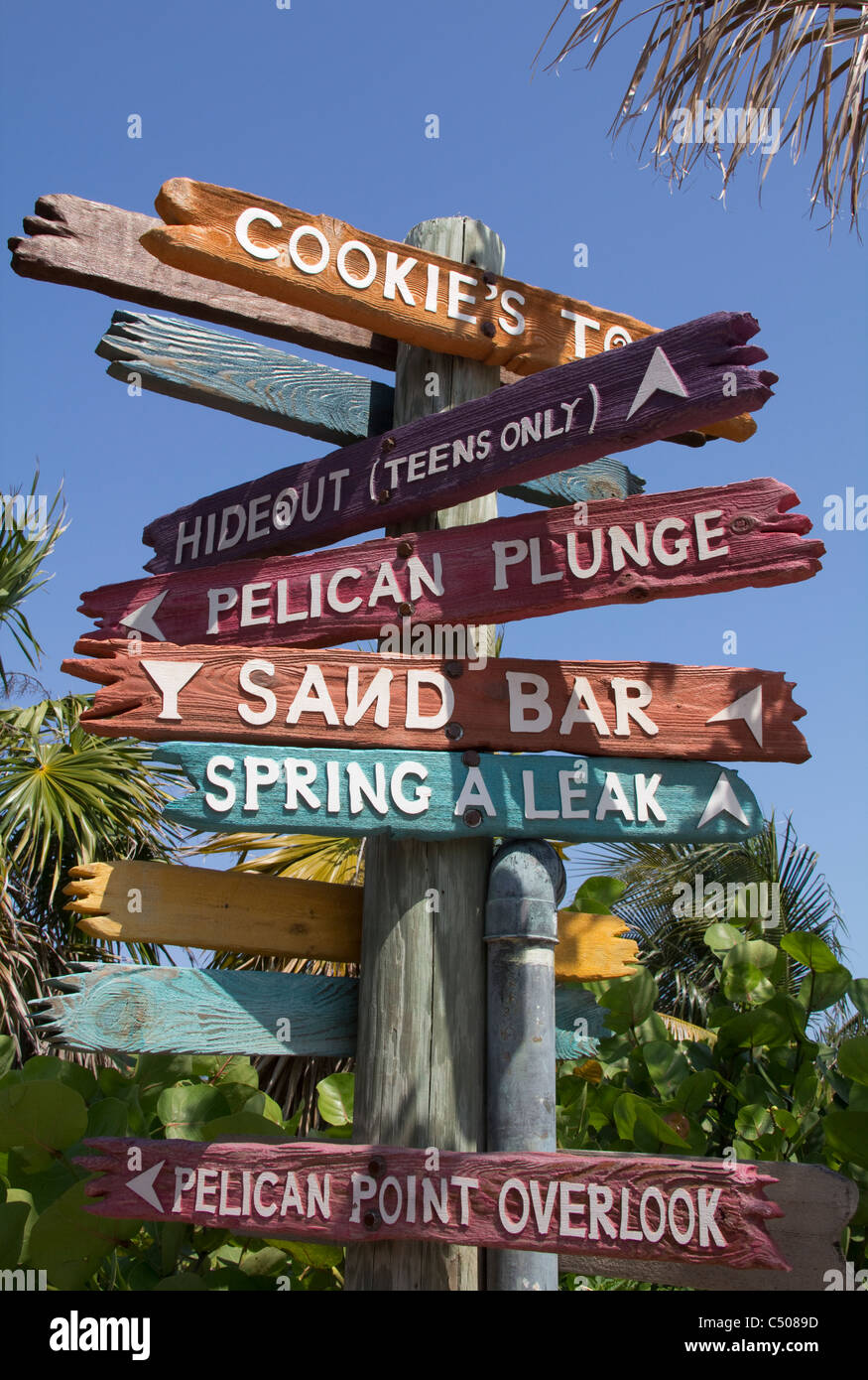 Signpost, Castaway Cay, Disney Cruise Line's private island in the Bahamas. - Stock Image