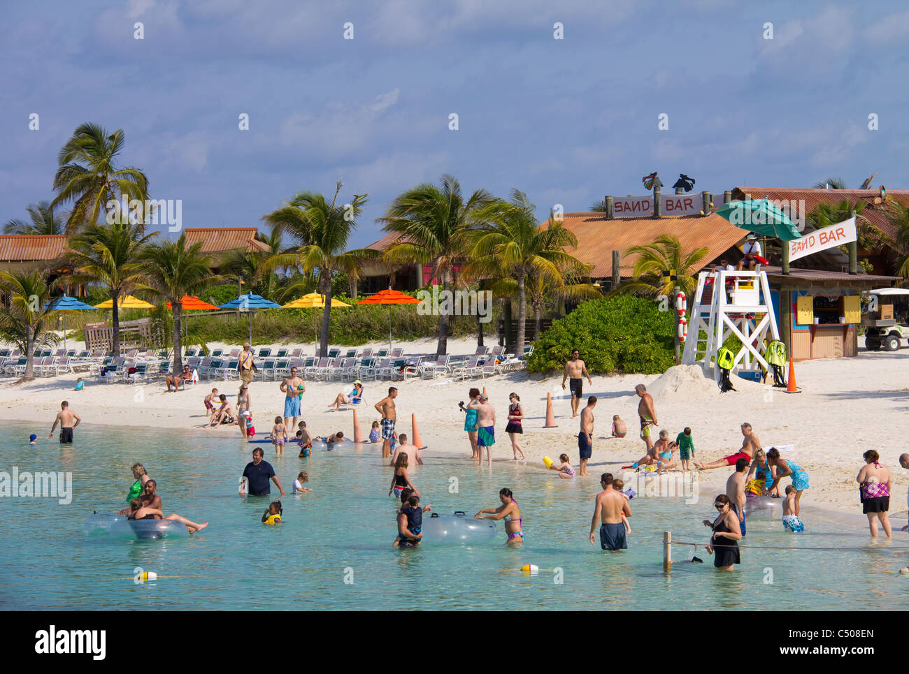 Family beaches on Castaway Cay provide a delightful day of sun, sand and sea for Disney Cruise Line guests, Bahamas - Stock Image