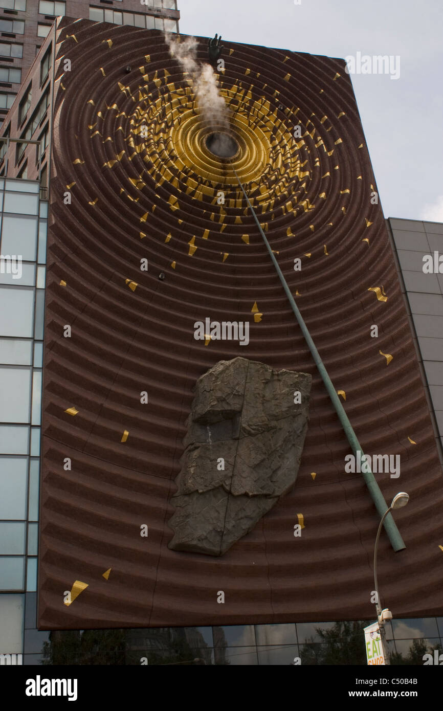 A sculpture 'The Metronome' by Kristin Jones on a building in Union Square New York City on 14th Street. - Stock Image