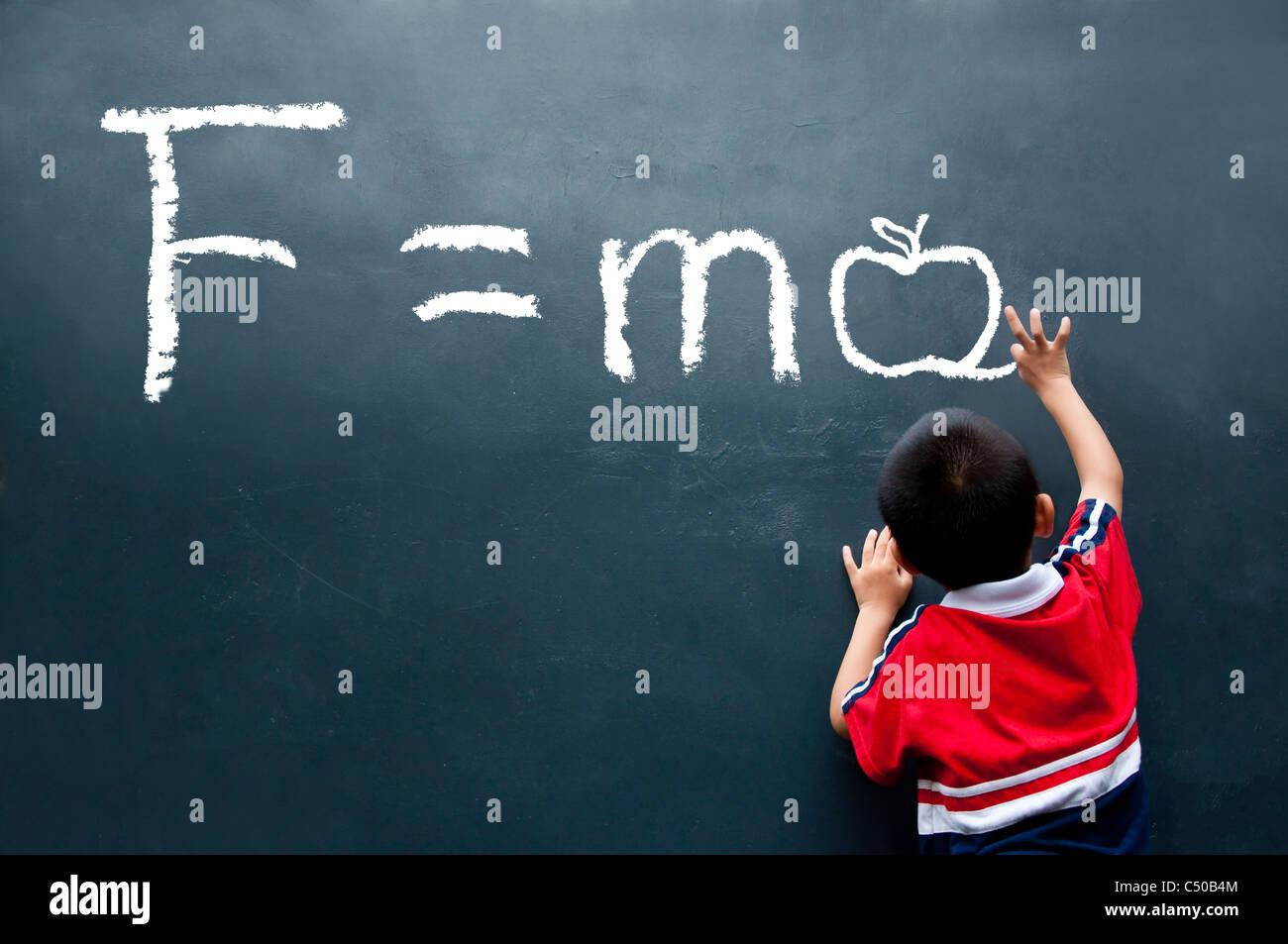 Newton Second law F=ma ( Apple ) - Stock Image