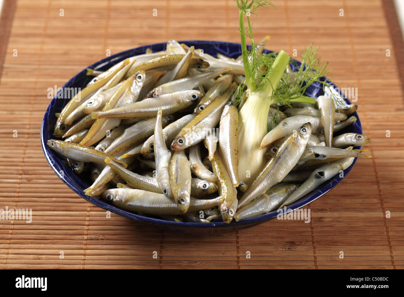 Bowl of fresh anchovies - close up Stock Photo