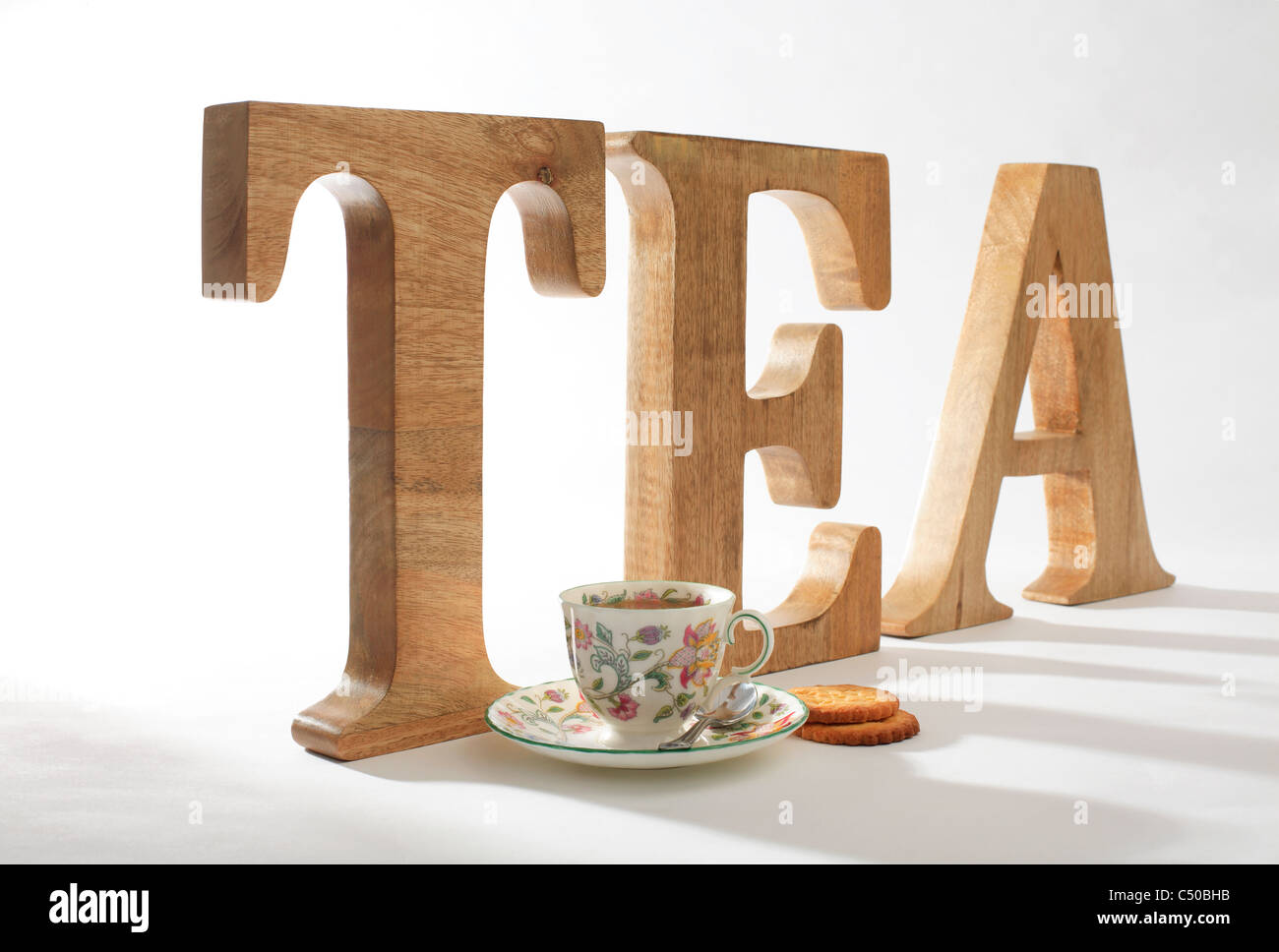 Cup of Tea Biscuits Lettering - Stock Image