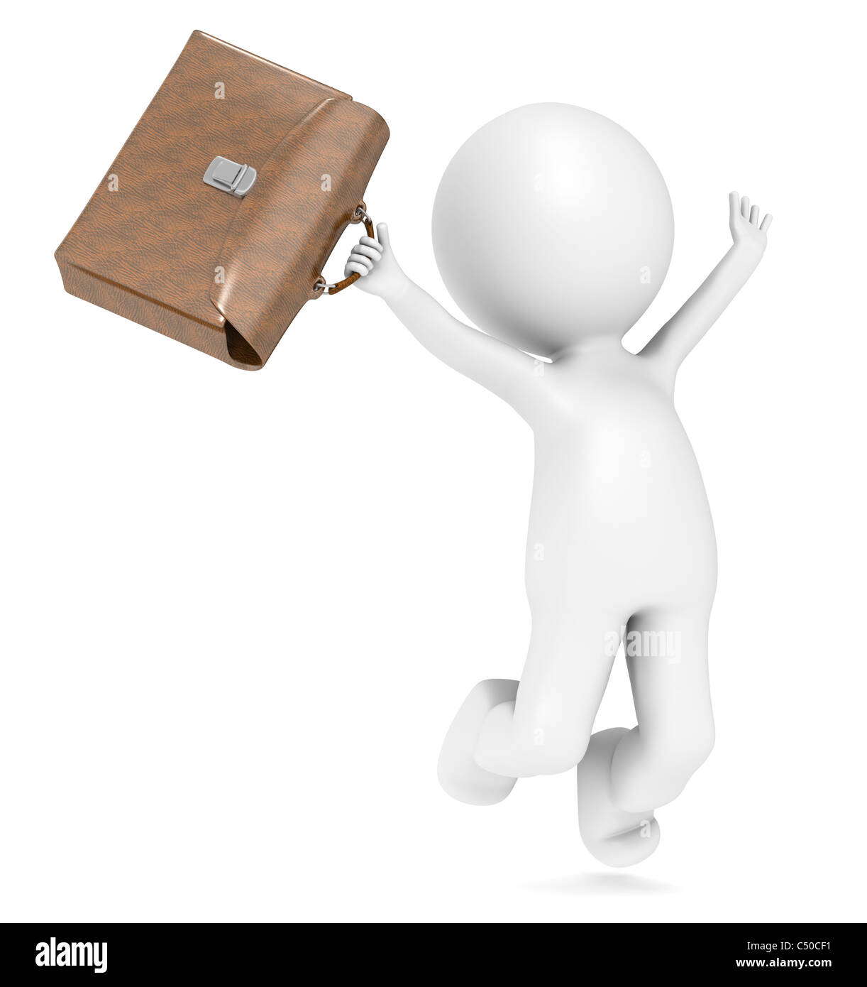 3D Human with a briefcase jumping of joy. - Stock Image