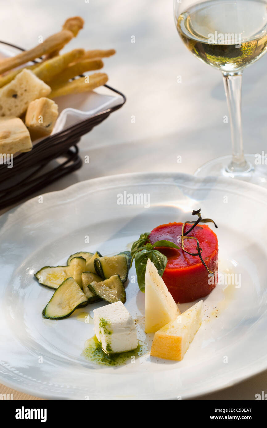 Italian Cheese Plate With Tomato Aspic Stock Photo Alamy
