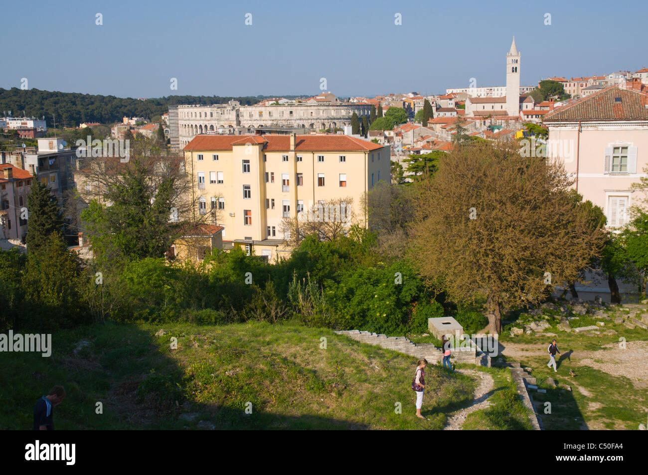Malo Rimsko Kazaliste the small Roman Theatre on fortress hills Pula the Istrian peninsula Croatia Europe - Stock Image