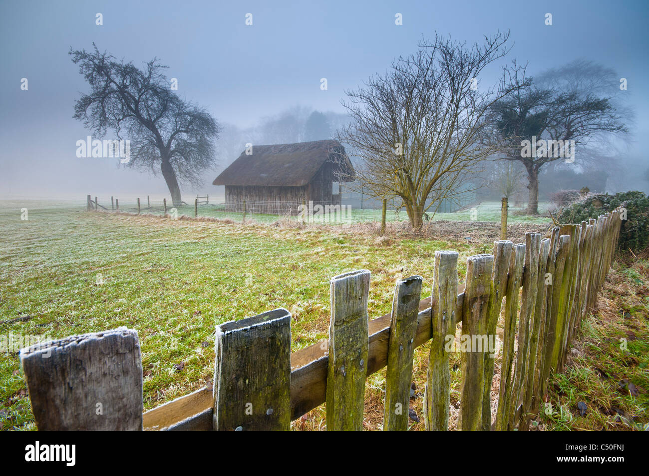 Thatched cricket pavilion, Stanway, Gloucestershire, Cotswolds, UK Stock Photo