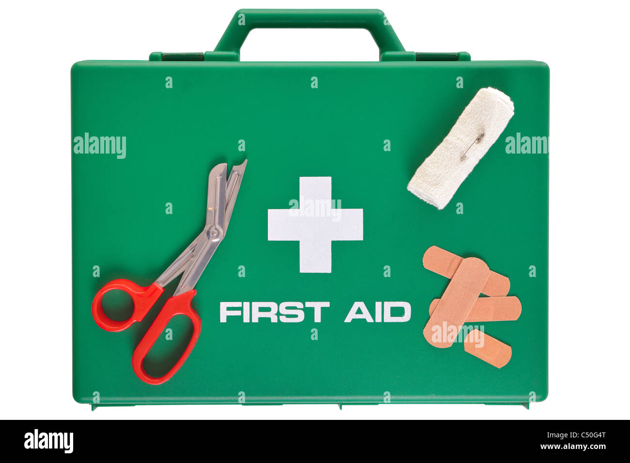 Photo of a first aid kit isolated on a white background with clipping path. - Stock Image