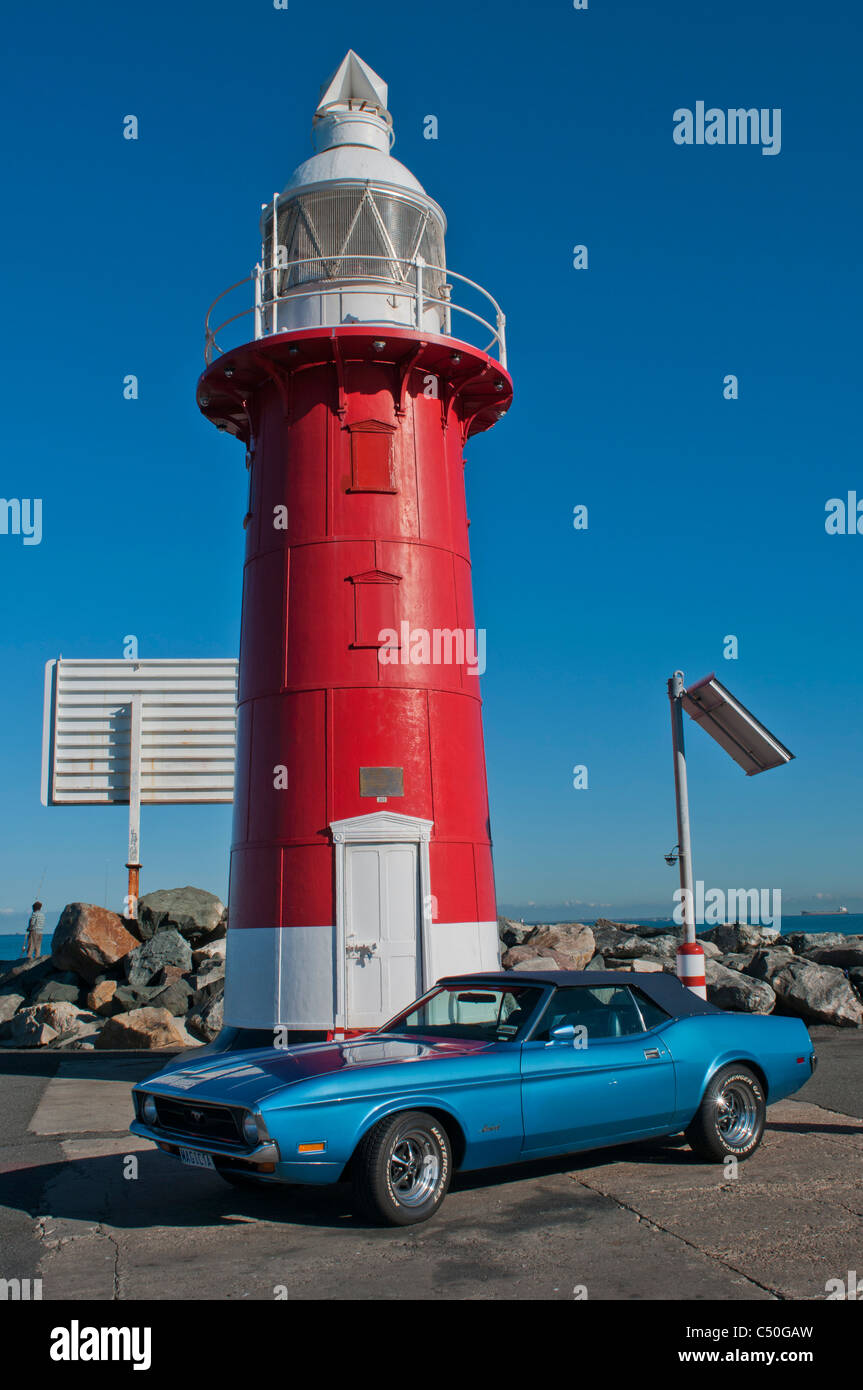 1978 Ford Mustang parked next to lighthouse in Fremantle Western Australia - Stock Image