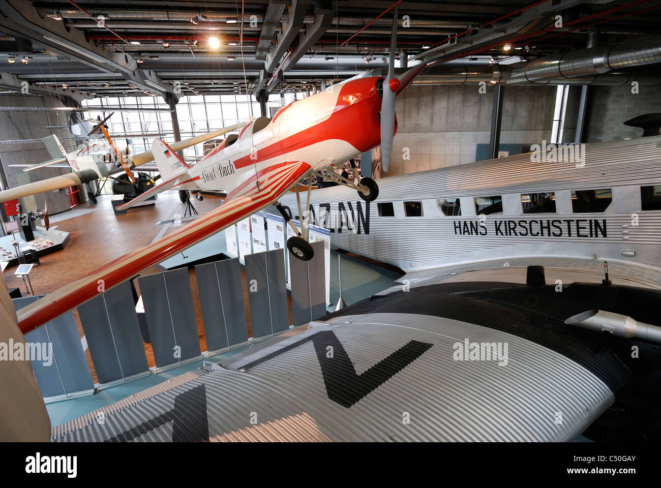 Berlin. Germany. The aviation hall in the Deutsches Technikmuseum / German Museum of Technology. Stock Photo