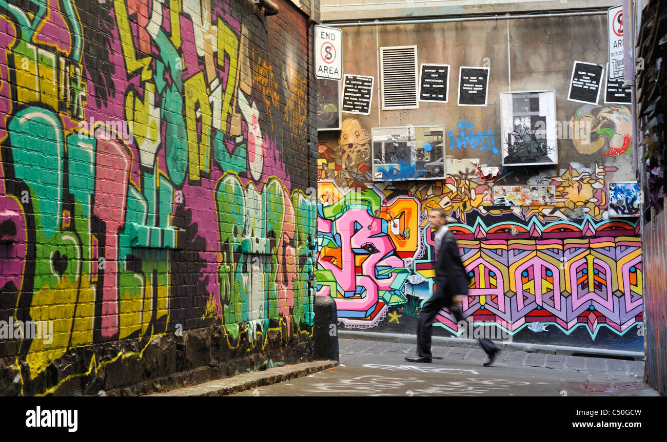 Graffiti Art in Melbourne Central Business District - Stock Image
