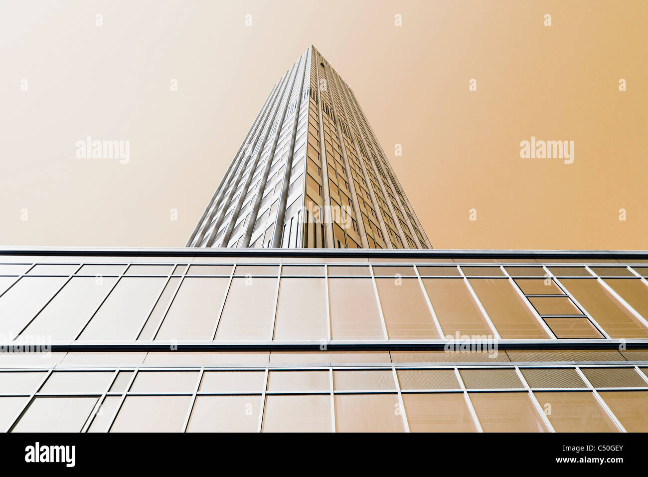 European Central Bank Tower, ECB tower, EZB Tower, facade, creative, urban, Frankfurt am Main, Hesse, Germany, Europe - Stock Image