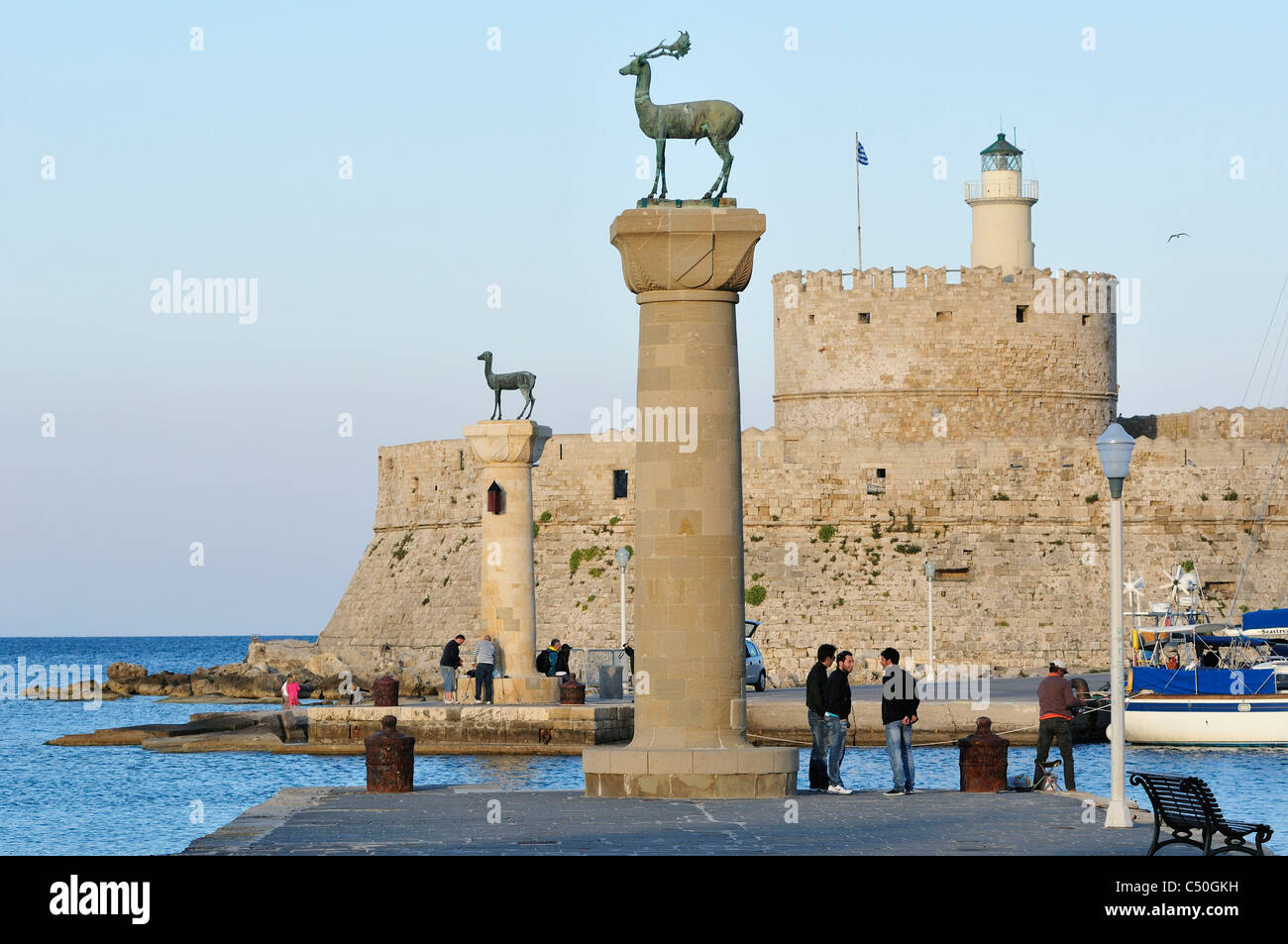 Rhodes. Dodecanese Islands. Greece. Mandraki Harbour, Old Town, Rhodes City. - Stock Image