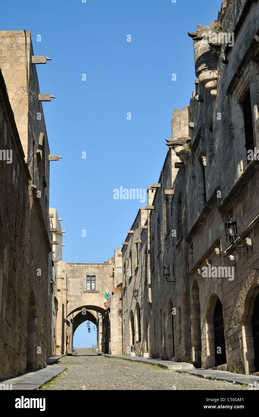 Rhodes. Dodecanese Islands. Greece. Avenue of the Knights (Ippoton), Old Town, Rhodes City. - Stock Image