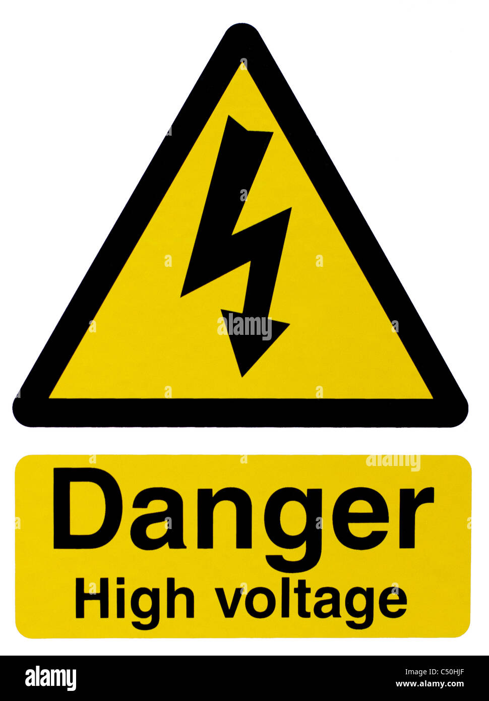 Danger High Voltage Sign with Lightning Bolt Stock Photo   Alamy