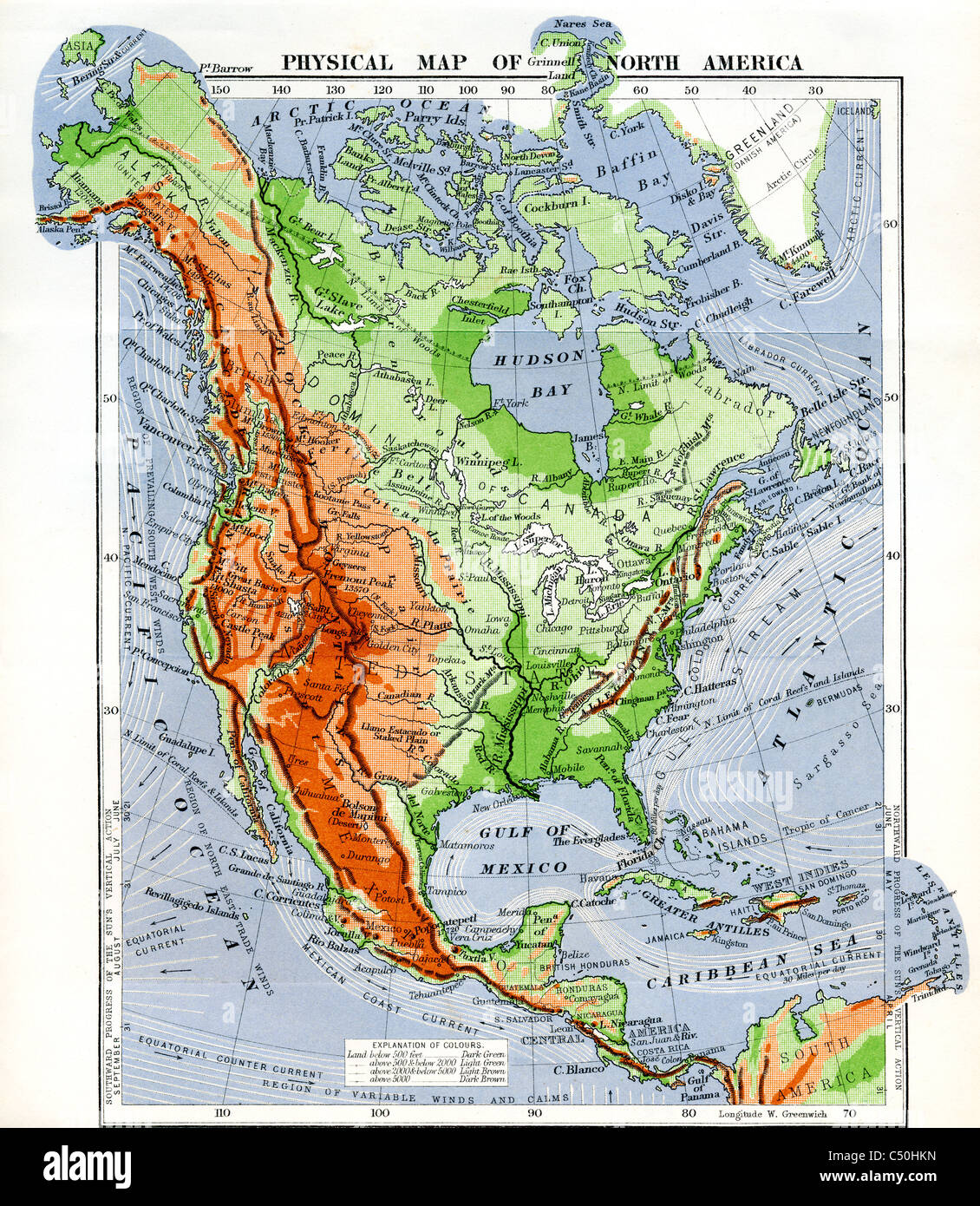 Physical Map of North America in the late 19th century Stock Photo ...