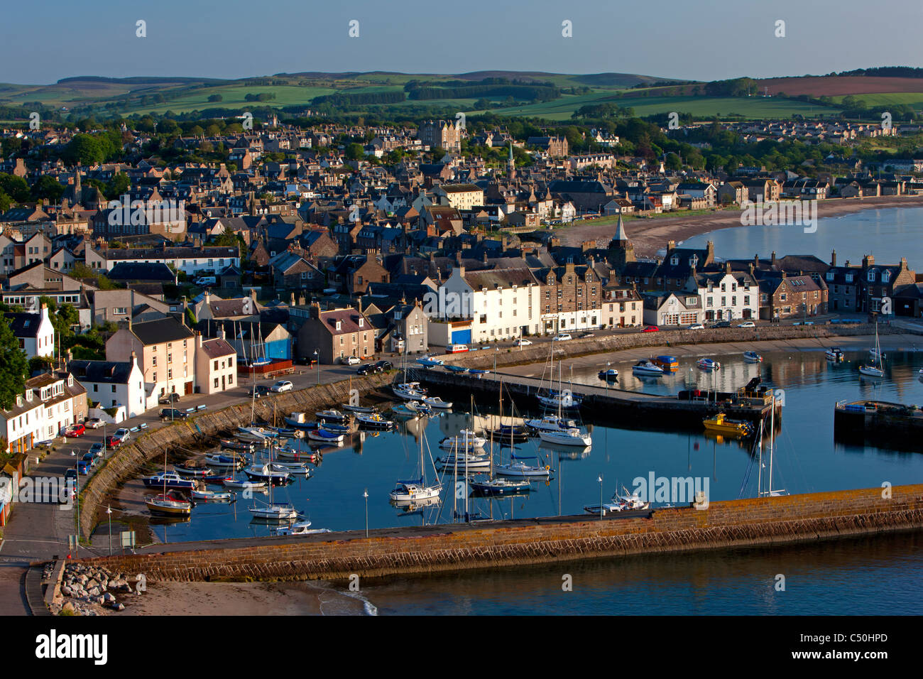 Looking down upon Stonehaven village and harbour, Aberdeenshire, Scotland - Stock Image