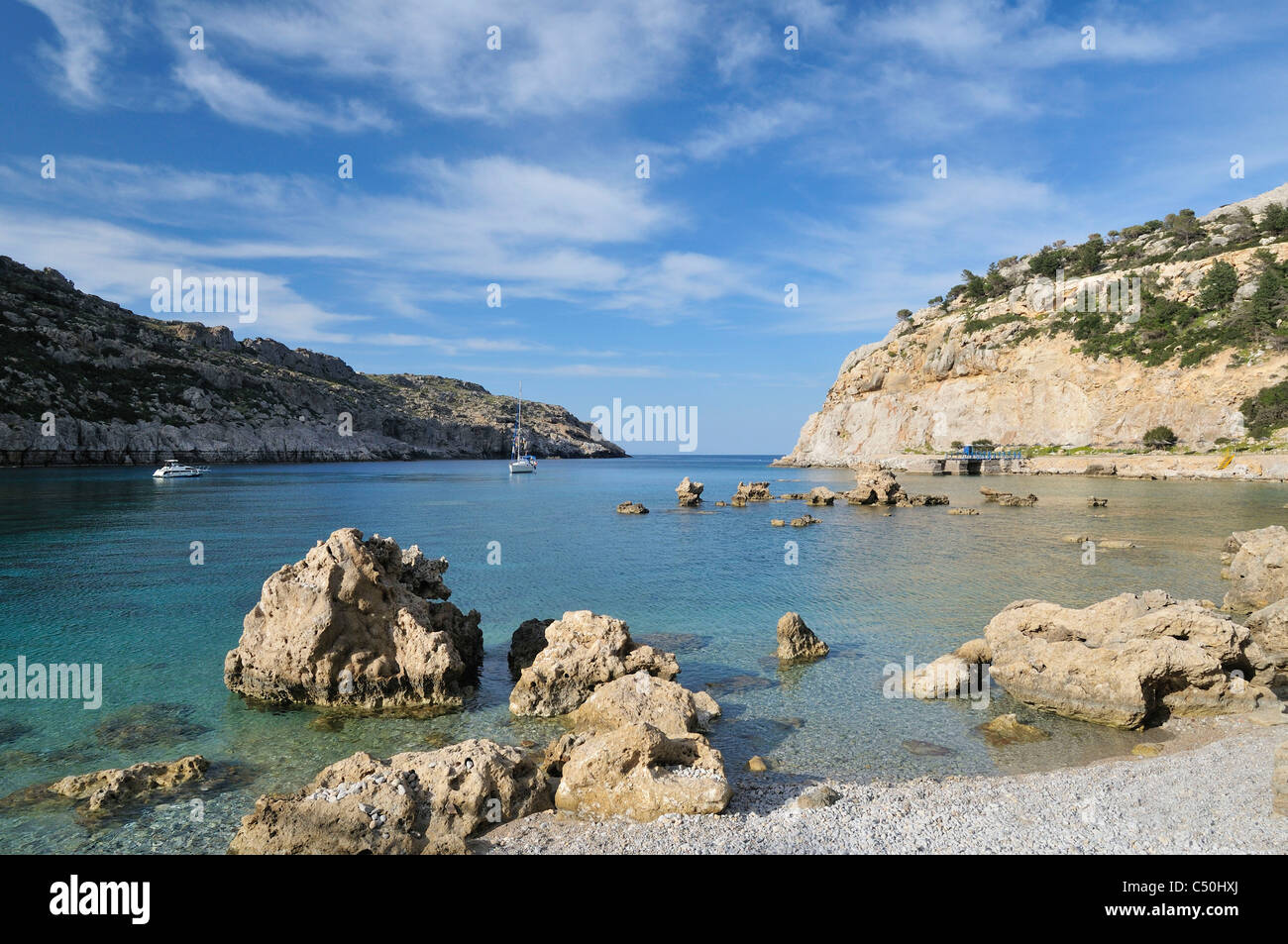 Rhodes. Dodecanese Islands. Greece. Anthony Quinn Bay. - Stock Image