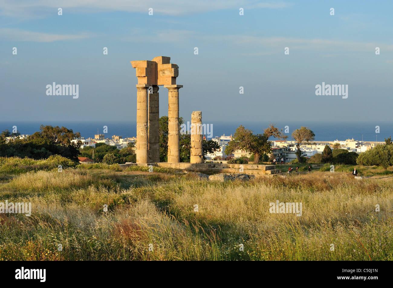 Rhodes. Dodecanese Islands. Greece. Temple of Pythian Apollo in the Acropolis on Mount Smith. - Stock Image