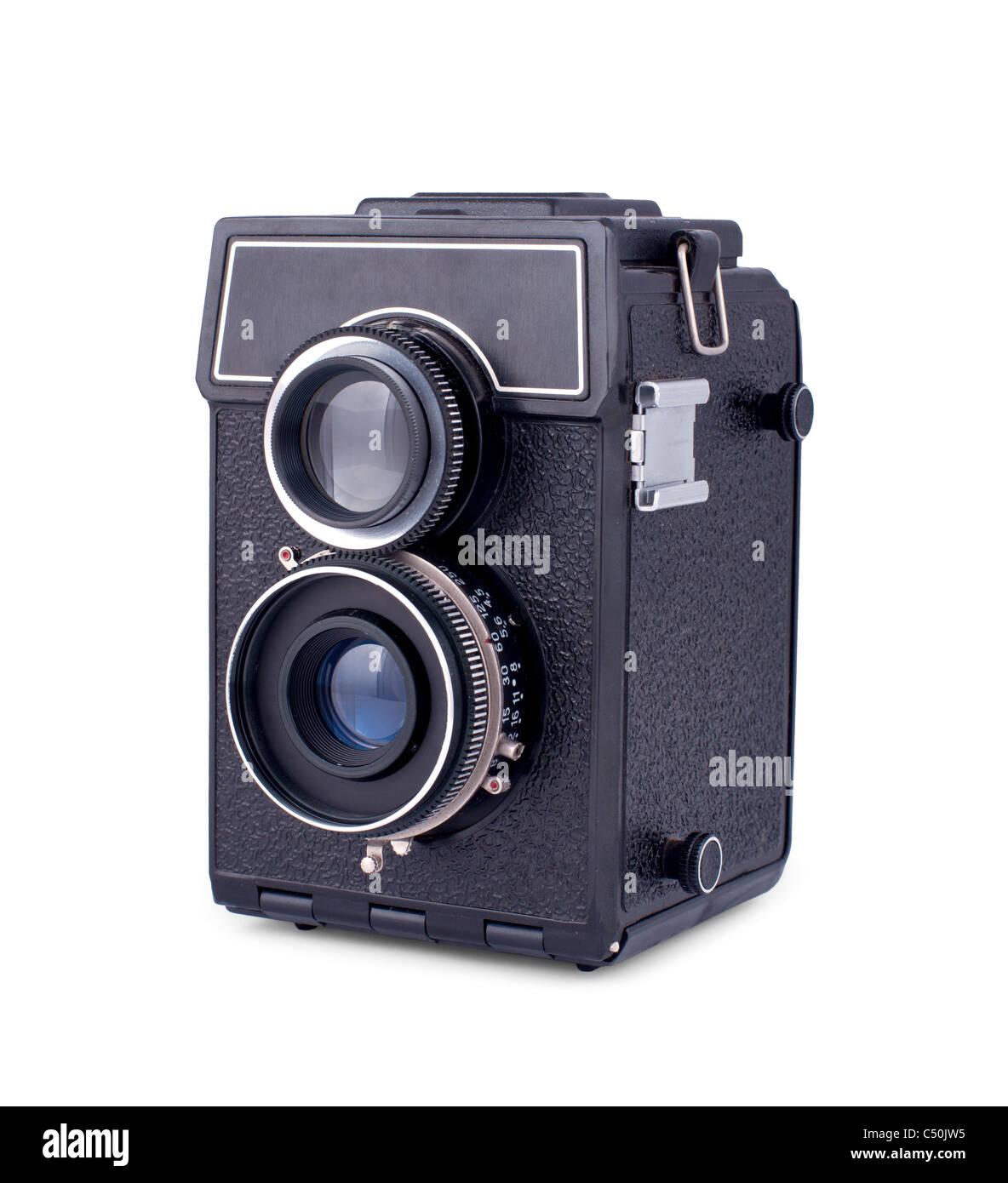 Soviet retro two lens photo camera isolated over white background - Stock Image
