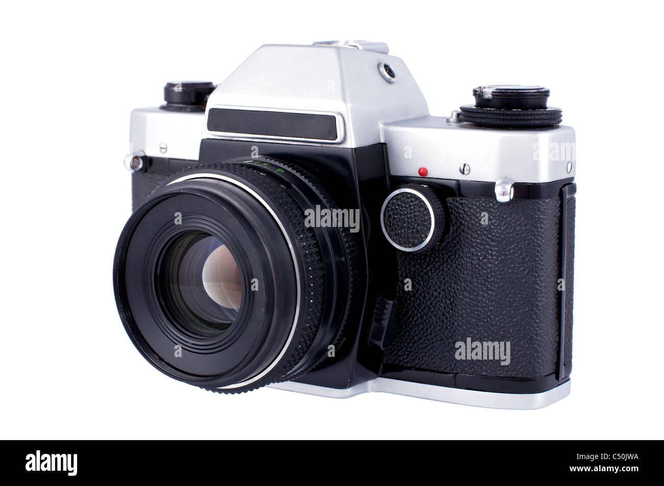 Soviet retro photo camera isolated on white background - Stock Image