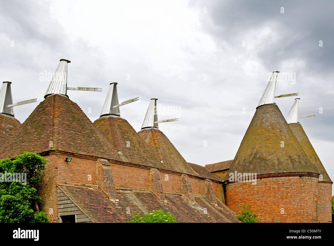 Oast houses for storing hops; Trockendarre für Hopfen - Stock Image