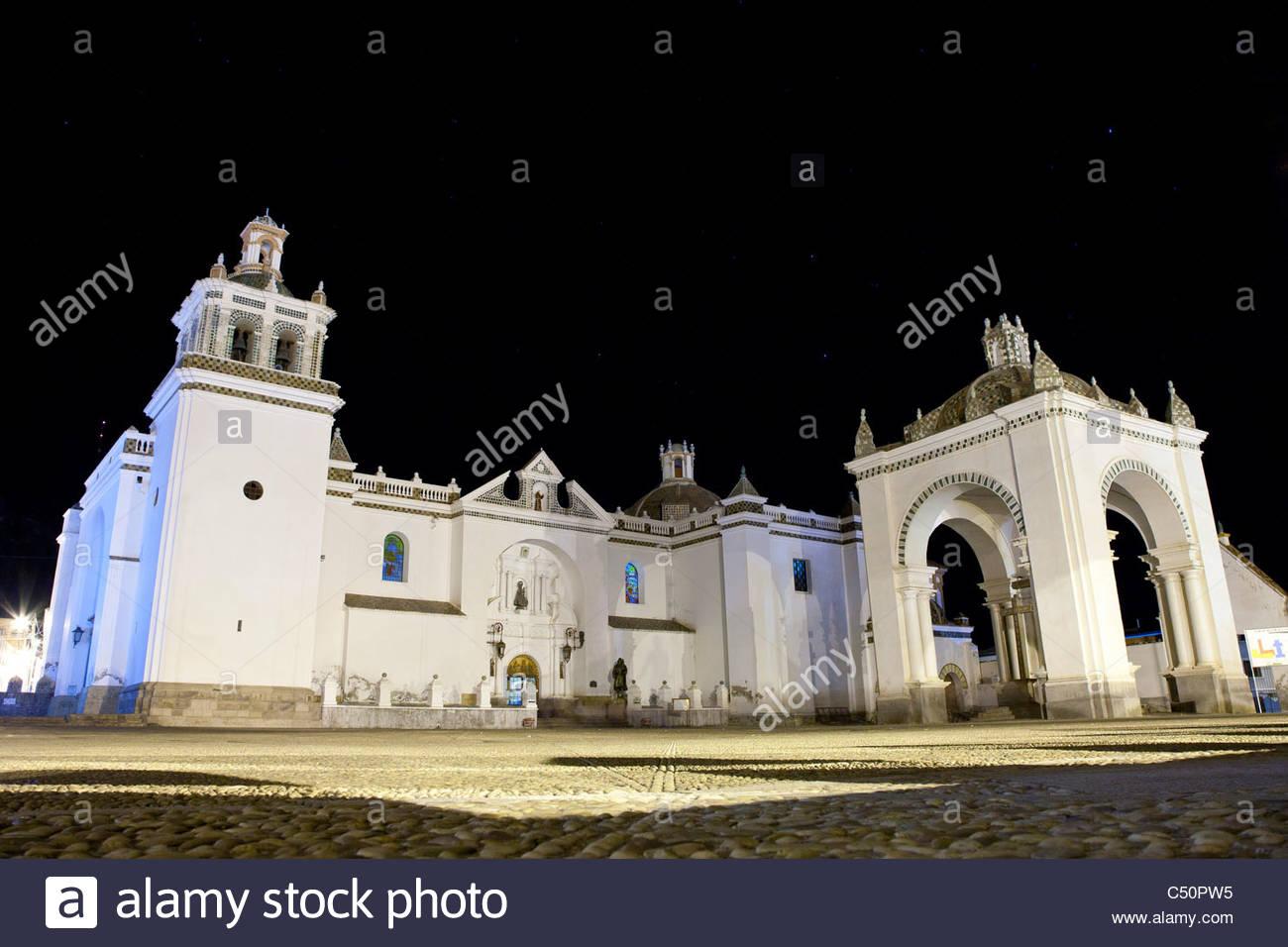 Basilica of Our Lady of Copacabana Cathedral at night, Copacabana, La Paz Department, Bolivia Stock Photo