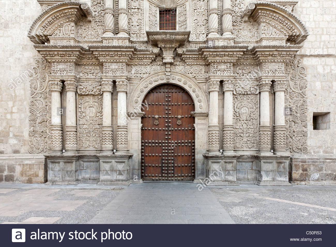 Facade of the Iglesia de la Compania Jesuit Church in central Arequipa, Peru. - Stock Image