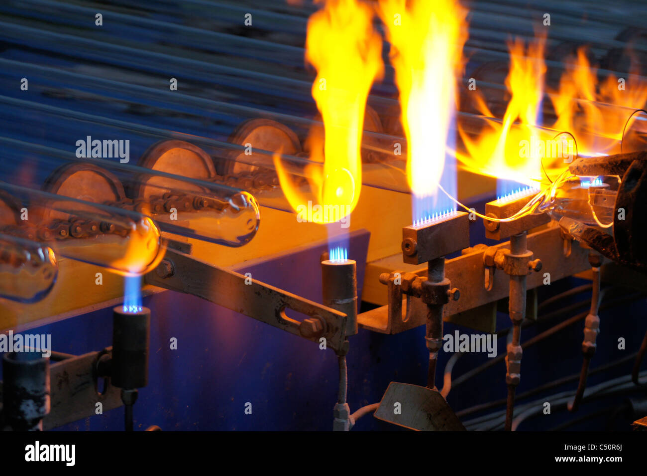 Production process of solar evacuated tube collectors in Shanghai China Stock Photo