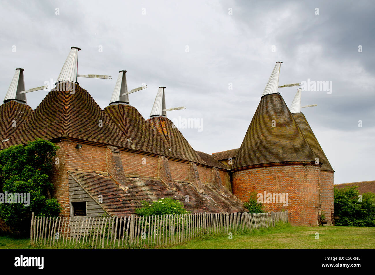 Oast houses for storing hops; Trockendarre für Hopfen - Stock Image