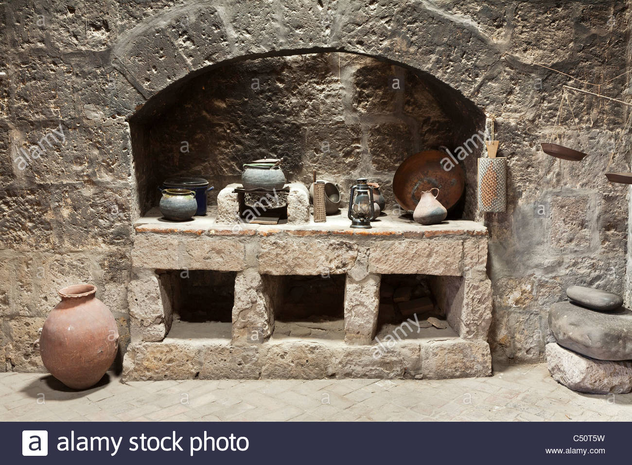 A old colonial era kitchen at Santa Catalina Monastery, Arequipa, Peru. - Stock Image