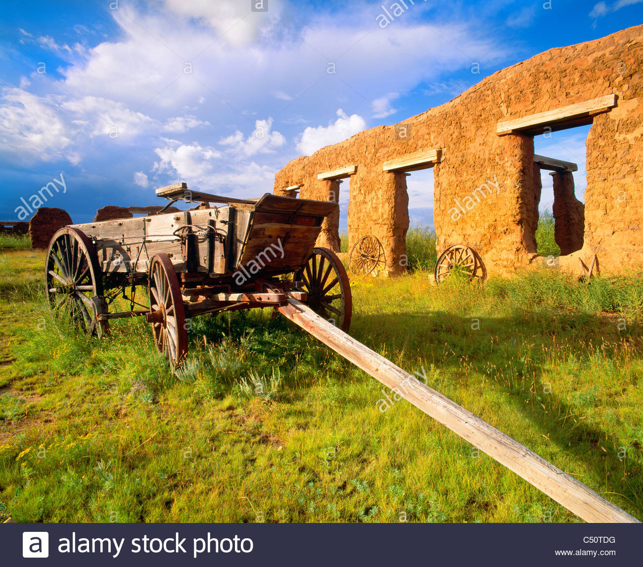[Freight wagon] along the 'Santa Fe Trail' [Fort Union National Monument] 'New Mexico' - Stock Image
