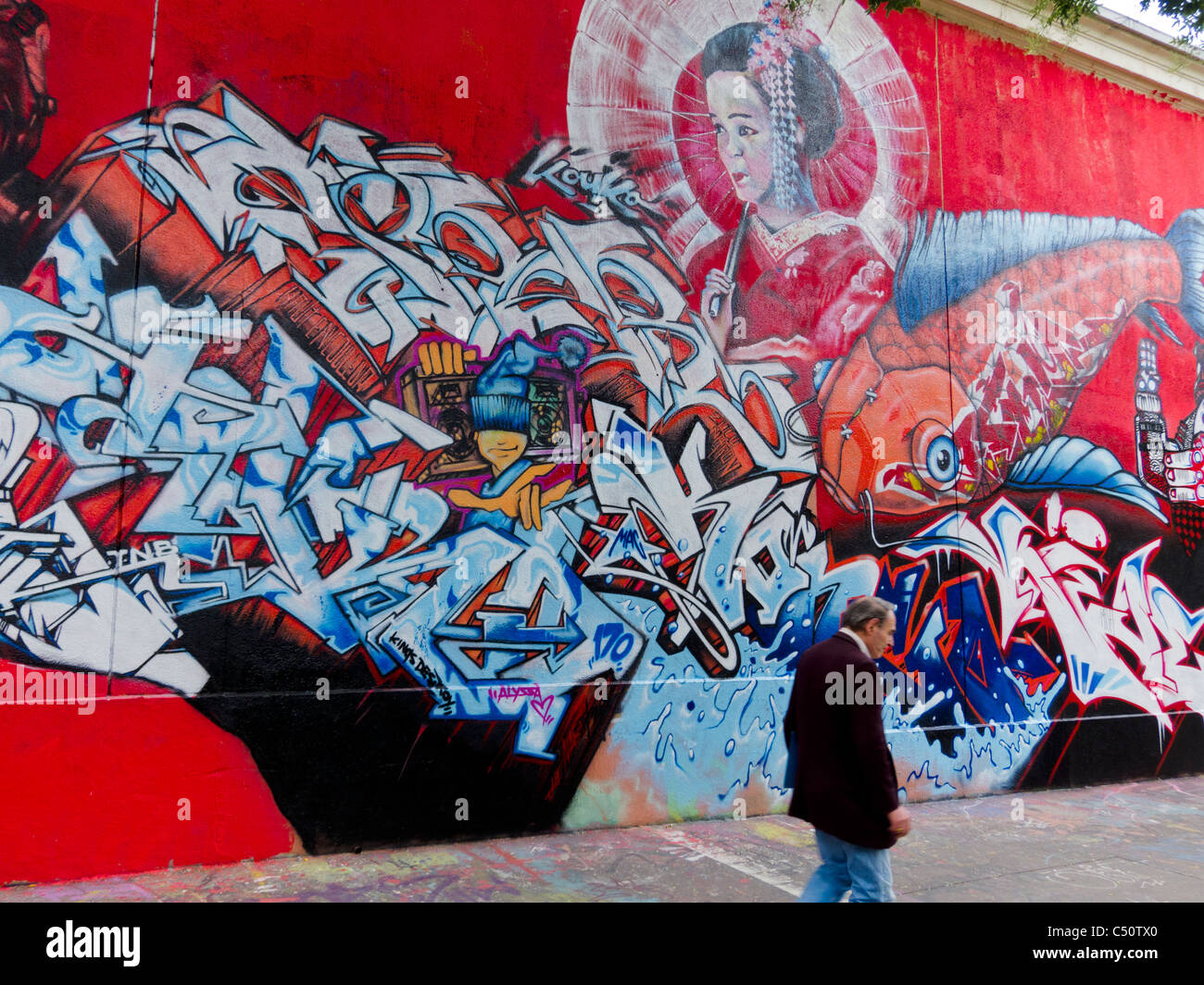 Paris, France, Graffiti Art, Public, Painting Wall, Japanese Theme, Street Scene - Stock Image