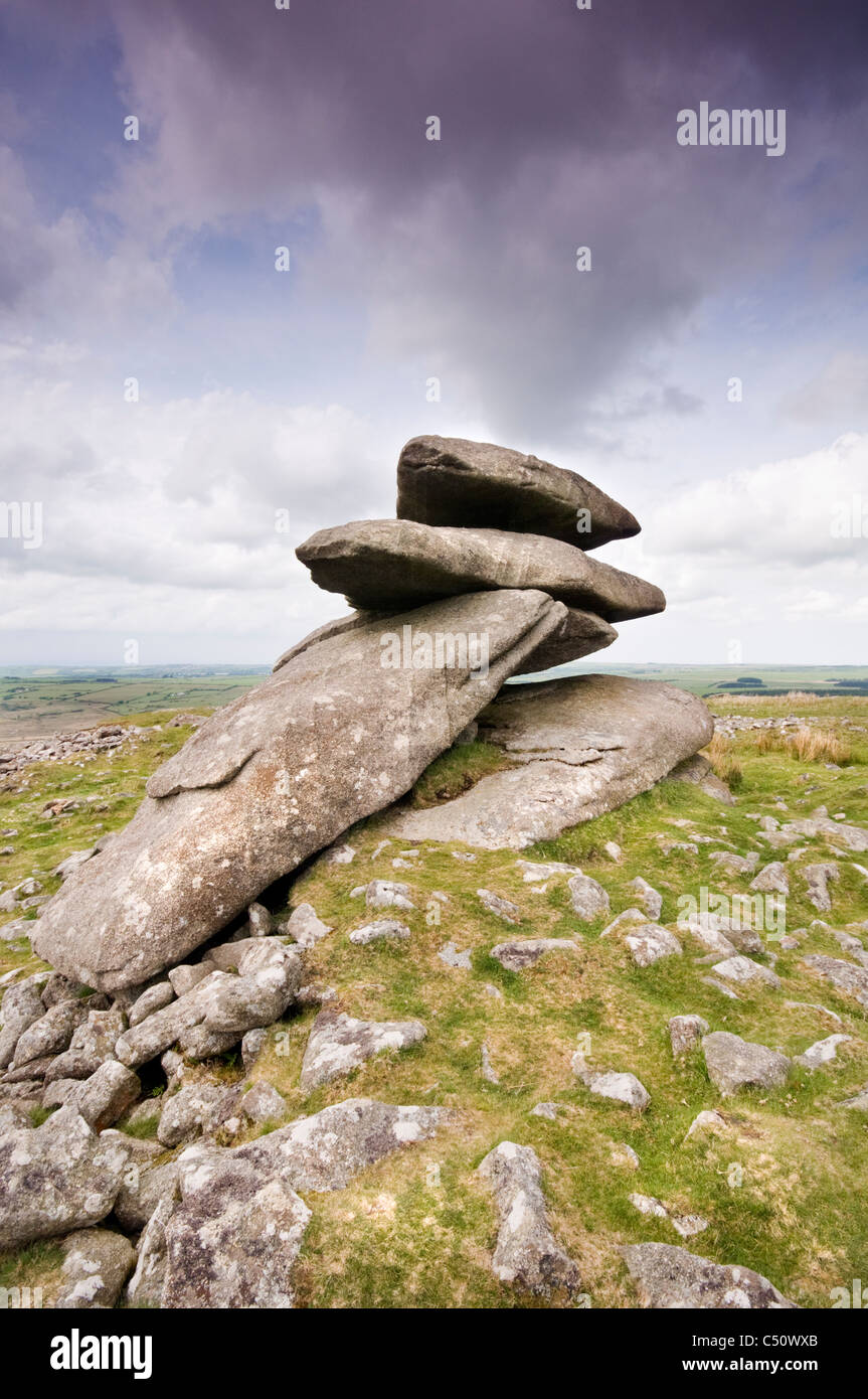 Showery Tor near Rough Tor on Bodmin Moor in Cornwall, England, UK Stock Photo