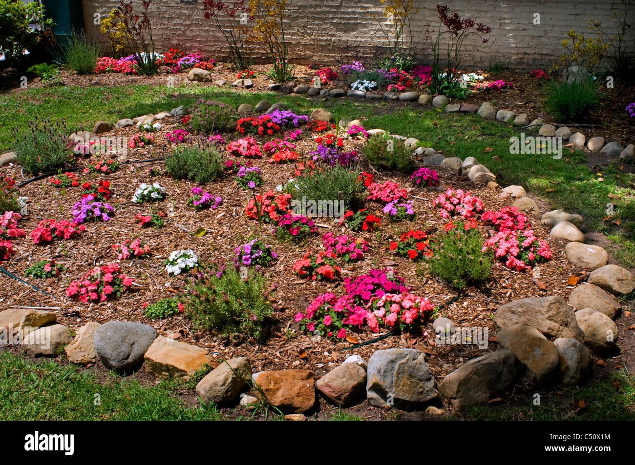 Flower Garden With Rocks