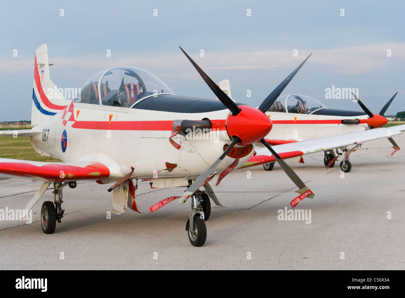 'Wings of storm' (Krila oluje) Croatian air force aerobatic team aircraft lined on an airport apron - Stock Image