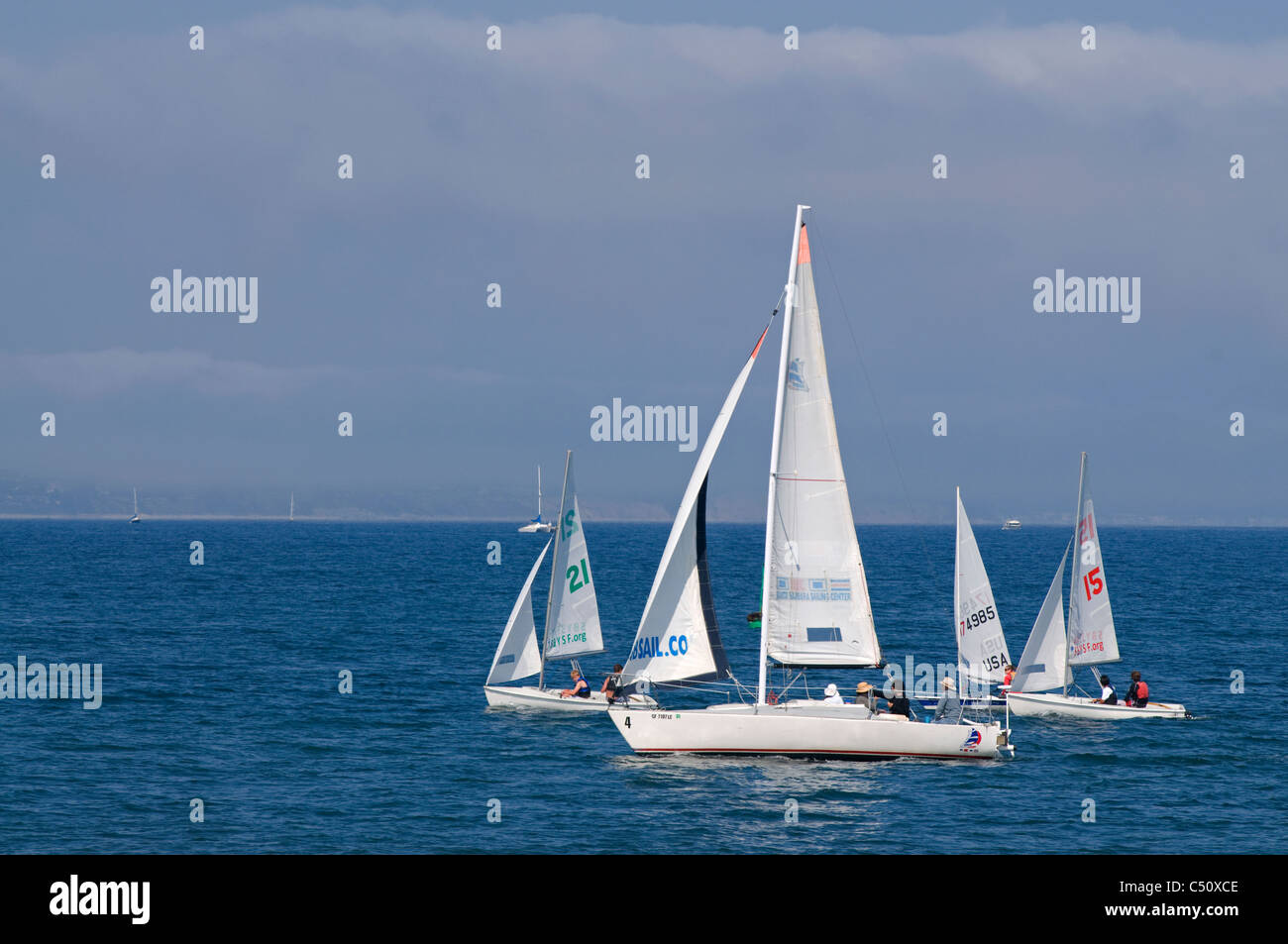 Sailboat regatta in Santa Barbara, CA - Stock Image