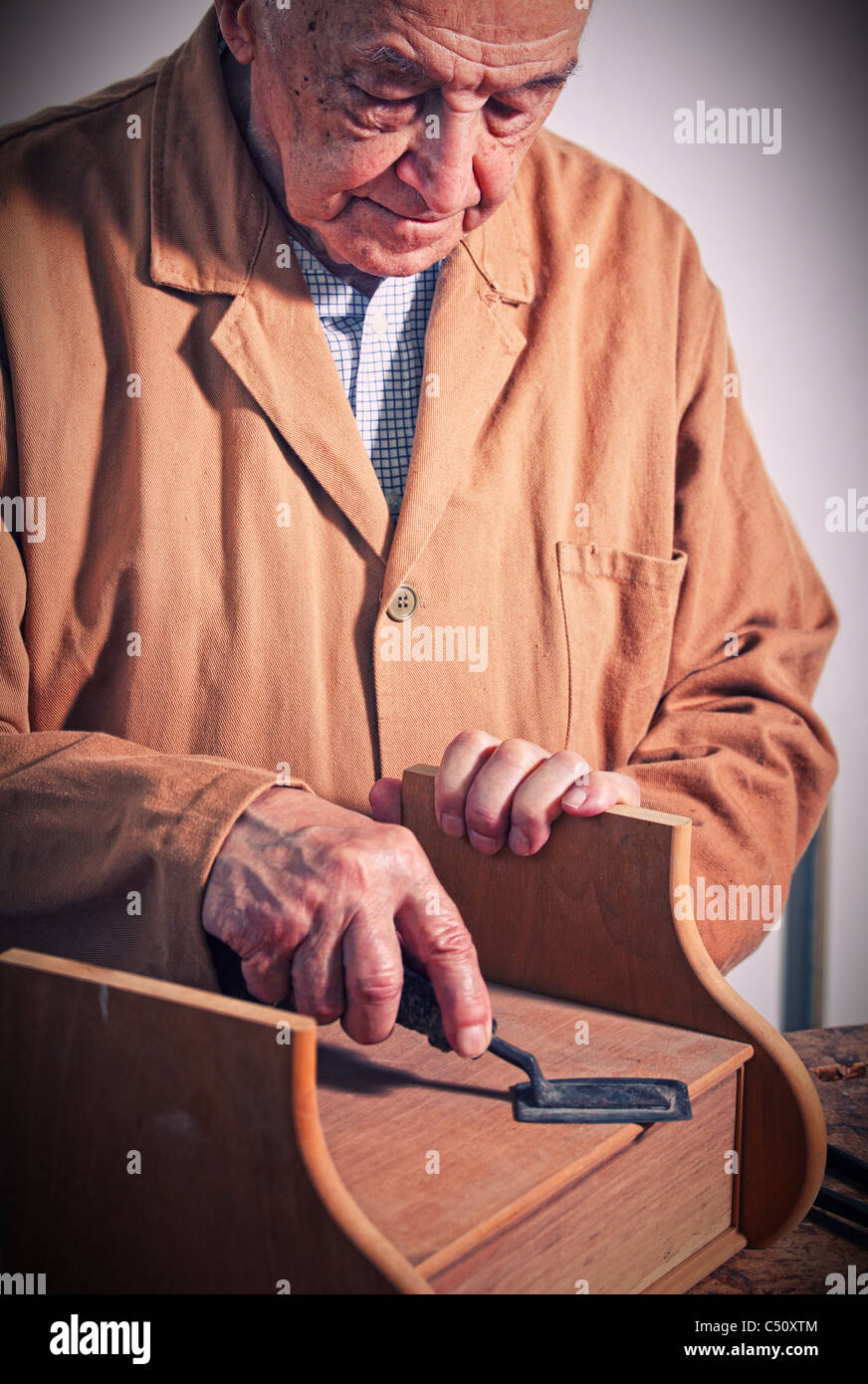 fine portrait of aged craftman - Stock Image