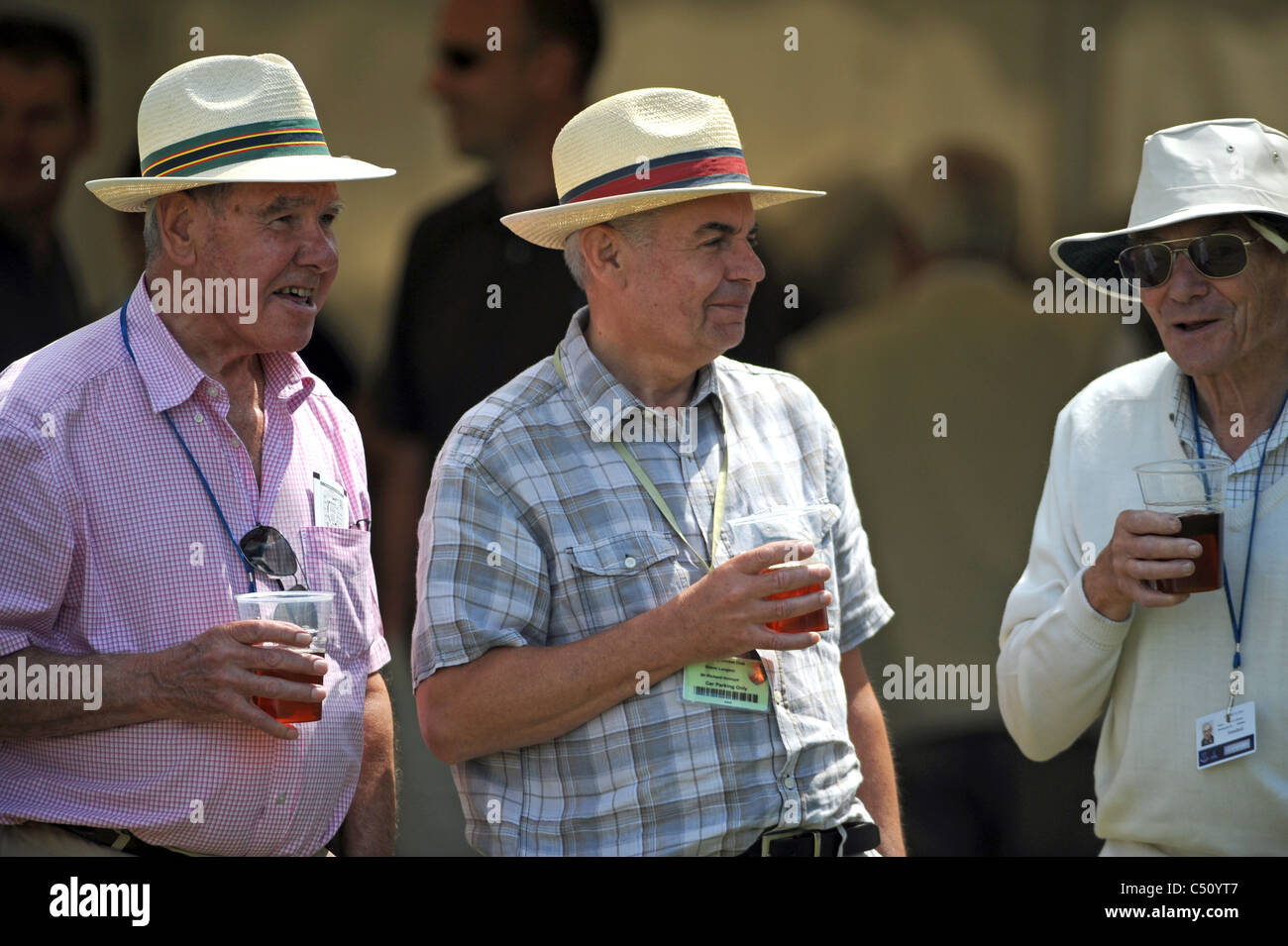 4d9195af Men wearing panama hats enjoying a drink while watching a cricket match UK  · Simon Dack / Alamy Stock Photo