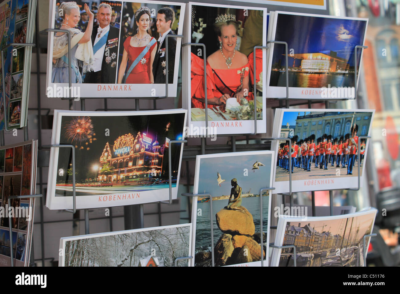 Danish postcards on a souvenir shop - Stock Image